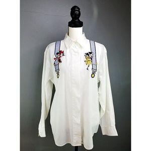 Vintage Disney Embroidered Suspenders Button Shirt